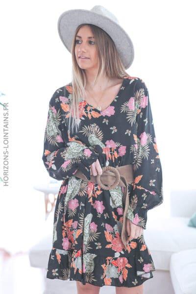 Robe noire motifs fleurs et calavera E007 (1)