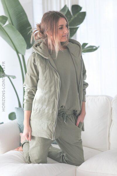 Sweat kaki avec veste à capuche sans manche E002 (1)