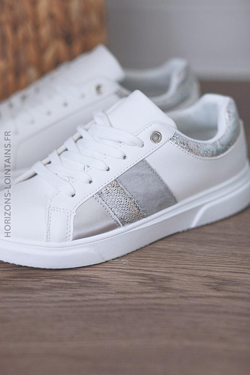Baskets blanches trio silver E010 (1)