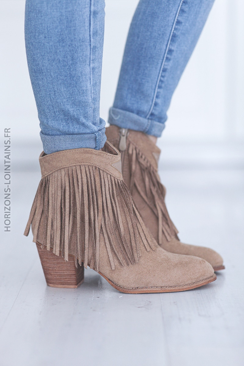 Bottines beige franges à talon E004 (1)
