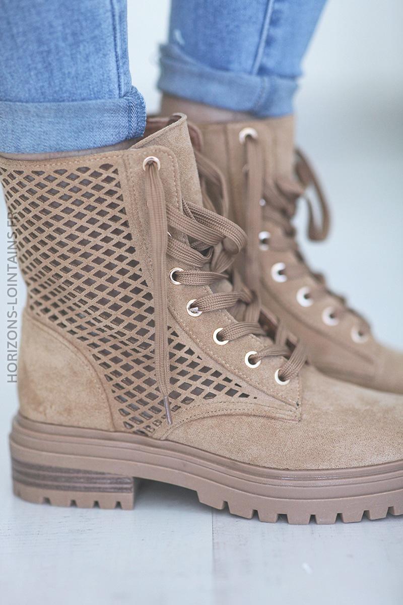 Chaussures montantes ajourées à lacets camel E009 (1)