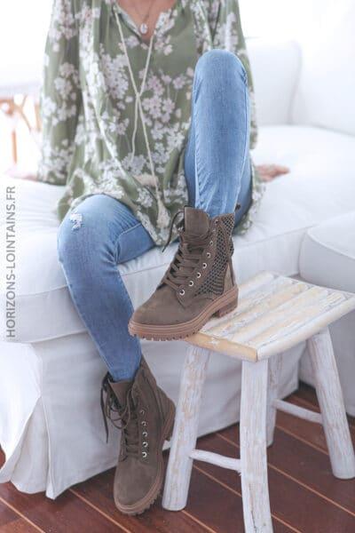 Chaussures montantes ajourées à lacets kaki E009 (1)