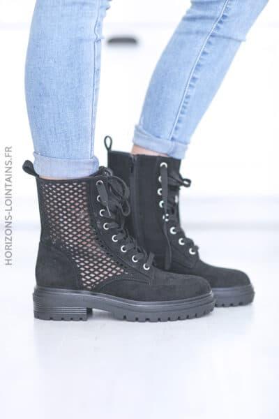 Chaussures montantes ajourées à lacets noir E009 (1)