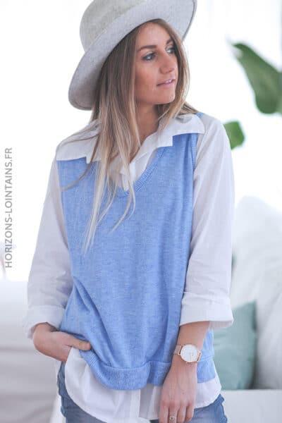 Chemise blanche avec pull sans manche bleu E014 (1)