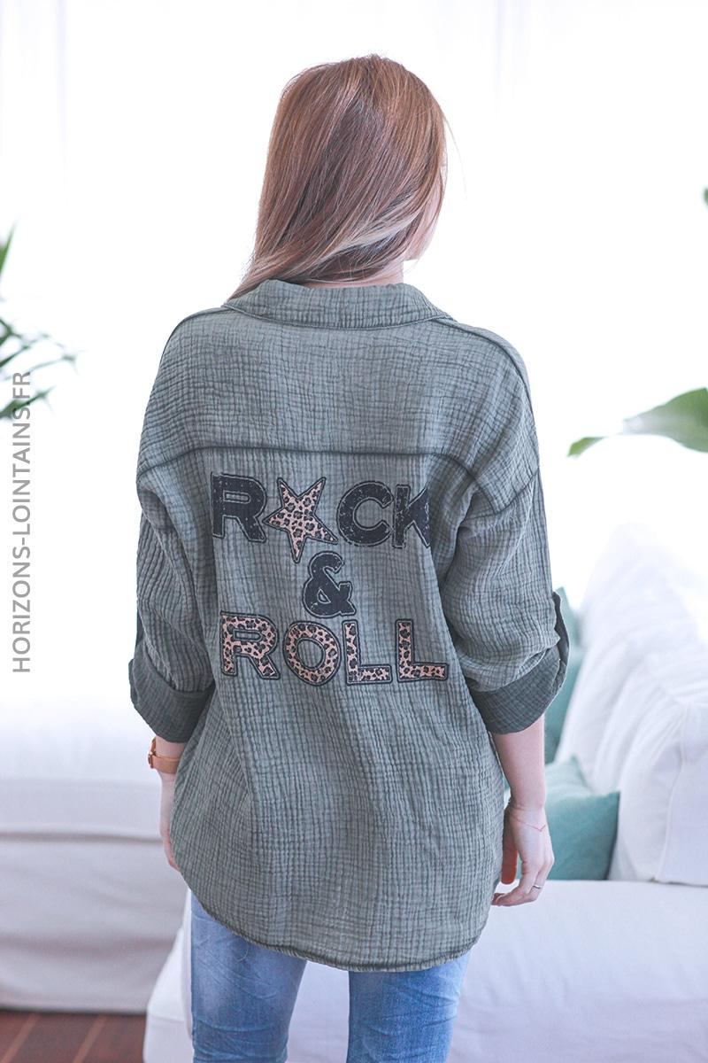 Chemise kaki gaze de coton rock and roll E036 (1)