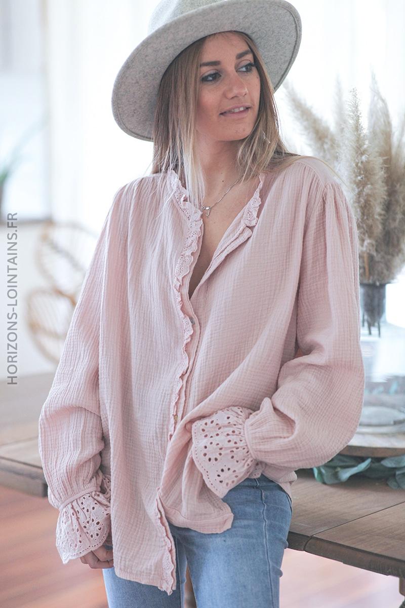 Chemise rose pale en gaze de coton avec broderie anglaise eà'è (1)