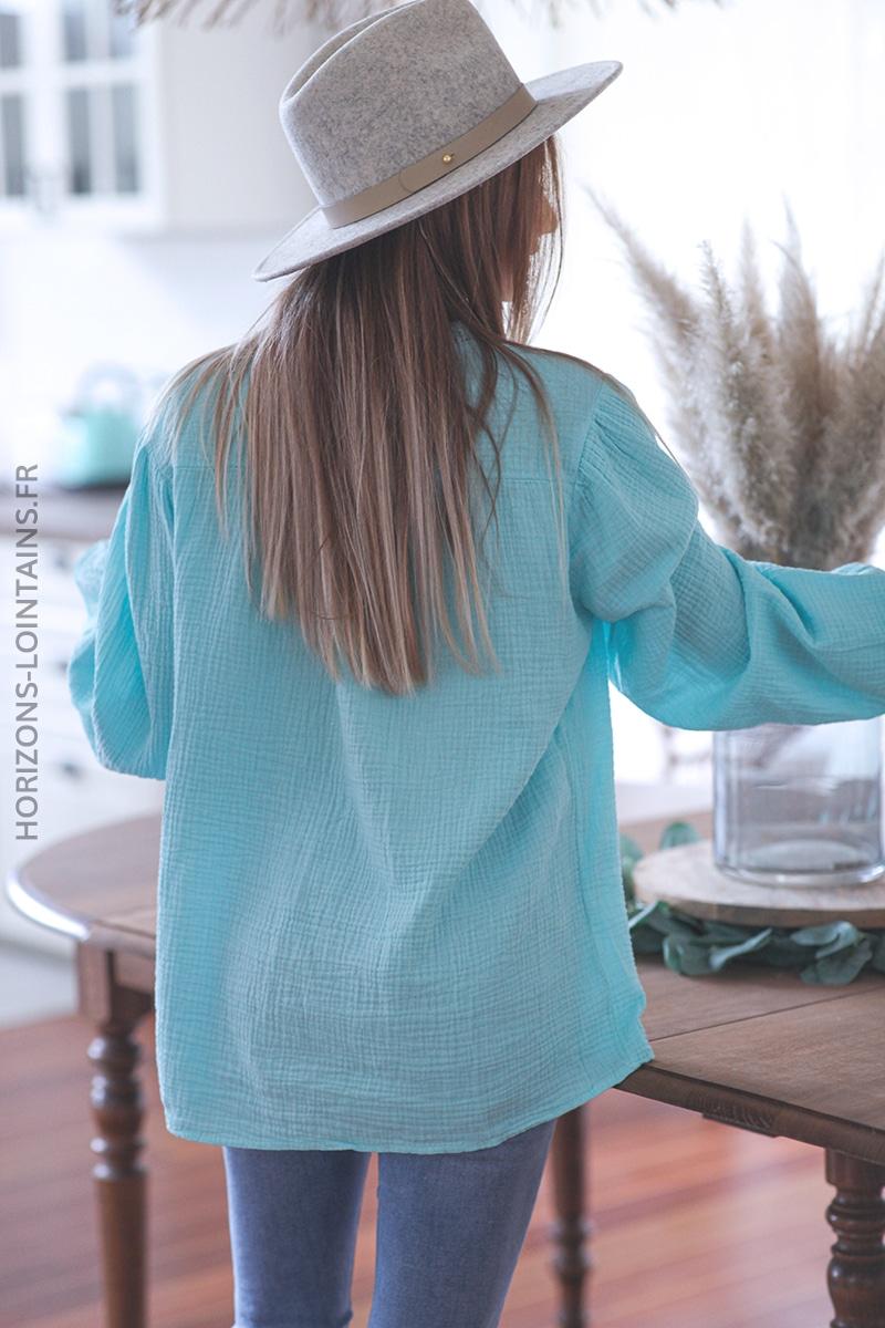 Chemise turquoise clair en gaze de coton avec broderie anglaise E047 (1)