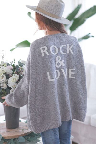 Gilet gris clair rock and love D020 (1)