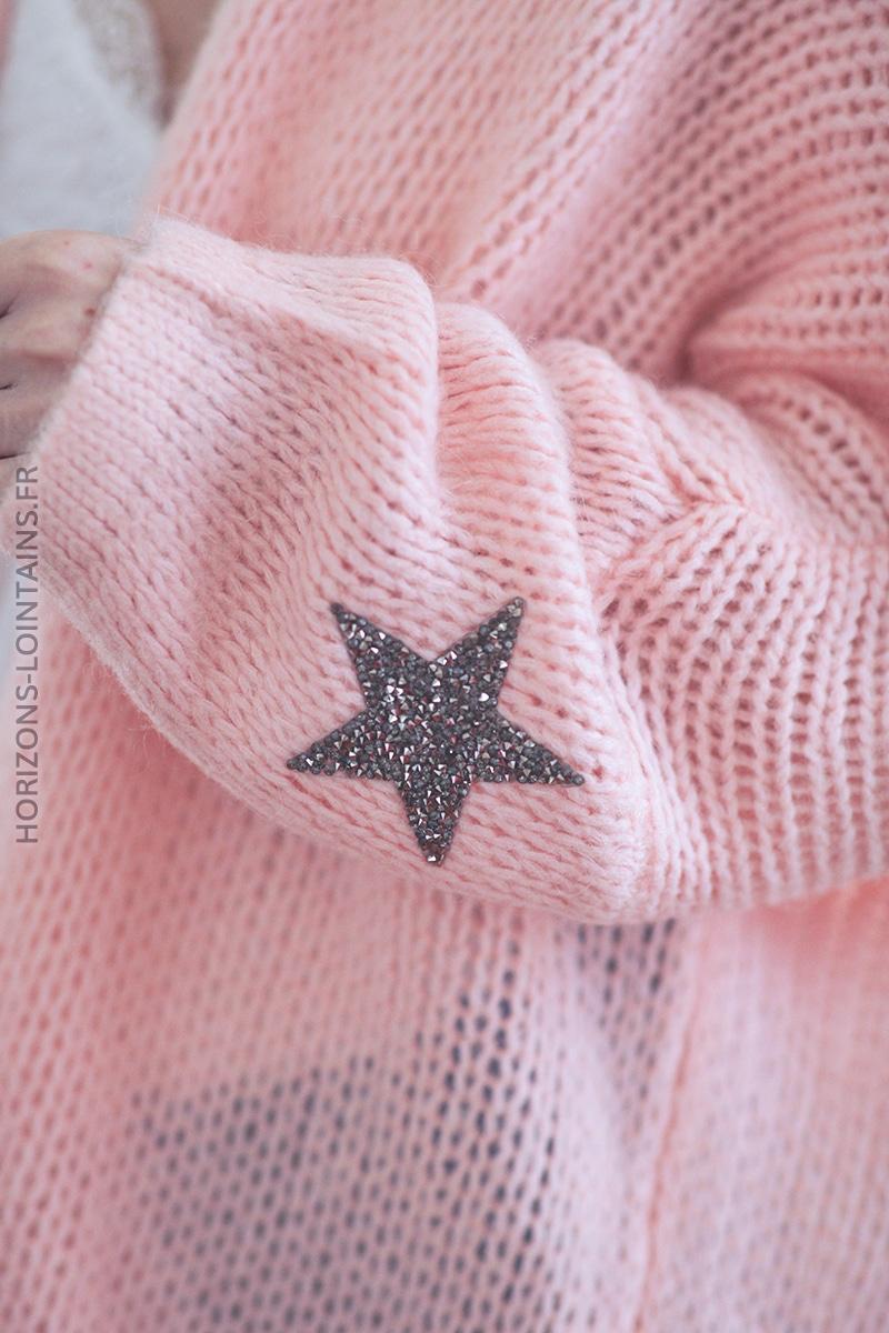 Gilet rose pâle mi-long grosses mailles étoile strass manches D027 (1)