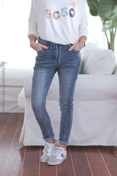 Jean place du jour confort ceinture lacet E009 (1)