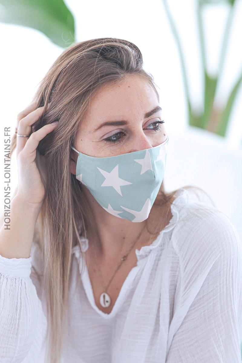 Masque vert amande étoiles E001 (1)