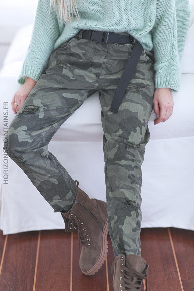 Pantalon camo kaki destroy avec ceinture E020 (1)