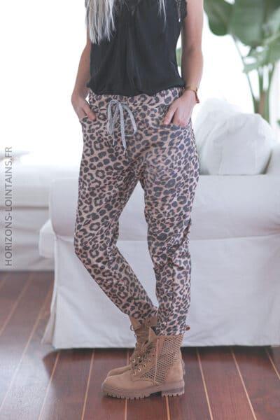 Pantalon confort léopard lien argenté E022 (1)