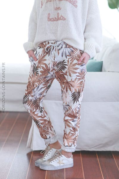 Pantalon confort motif feuilles palmes camel E019 (1)