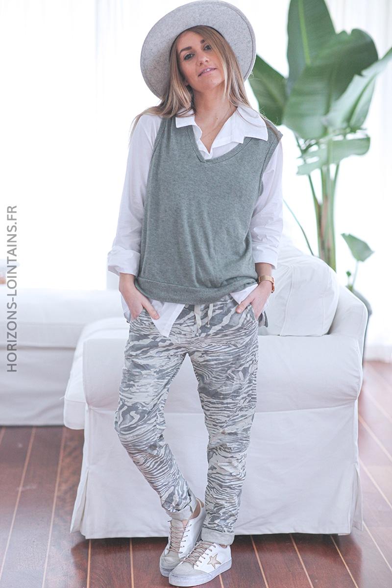 Pantalon kaki clair confort motif marbré E027 (1)