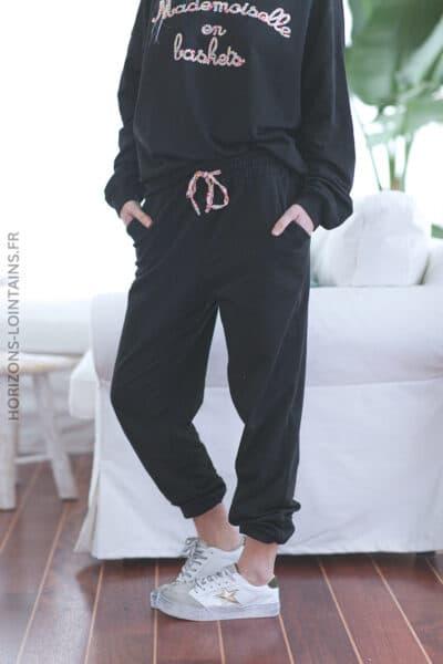 Pantalon noir jogging liens liberty E023 (6)