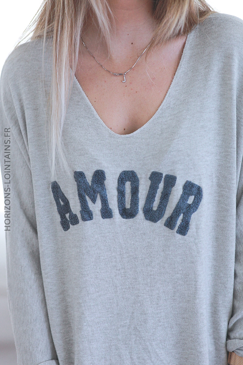 Pull beige jersey amour relief bouclettes E068 (1)