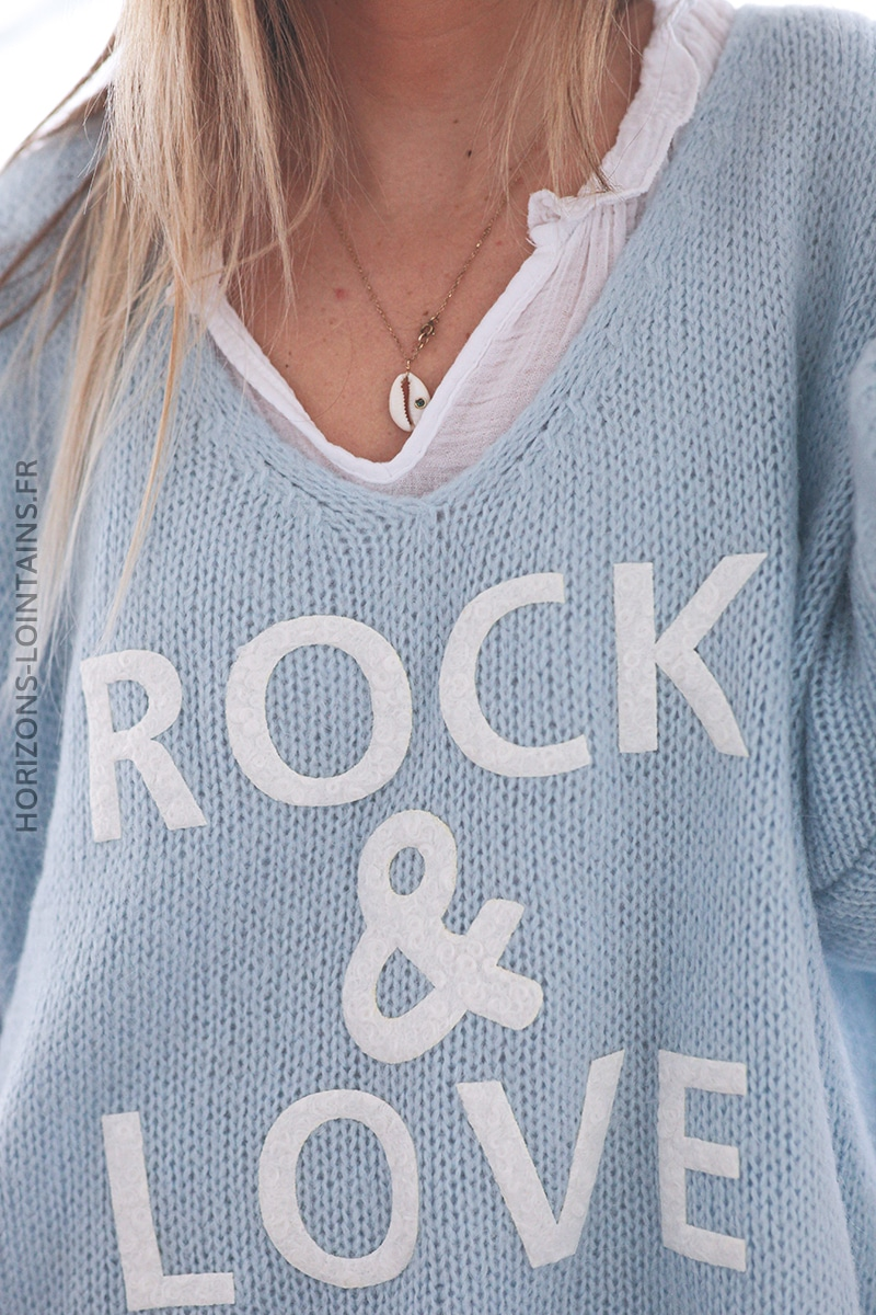 Pull bleu ciel oversize grosses mailles rock and roll D224 (1)