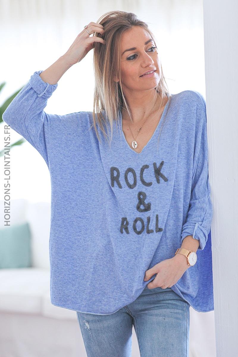 Pull bleu lavande fin rock and roll E039 (1)