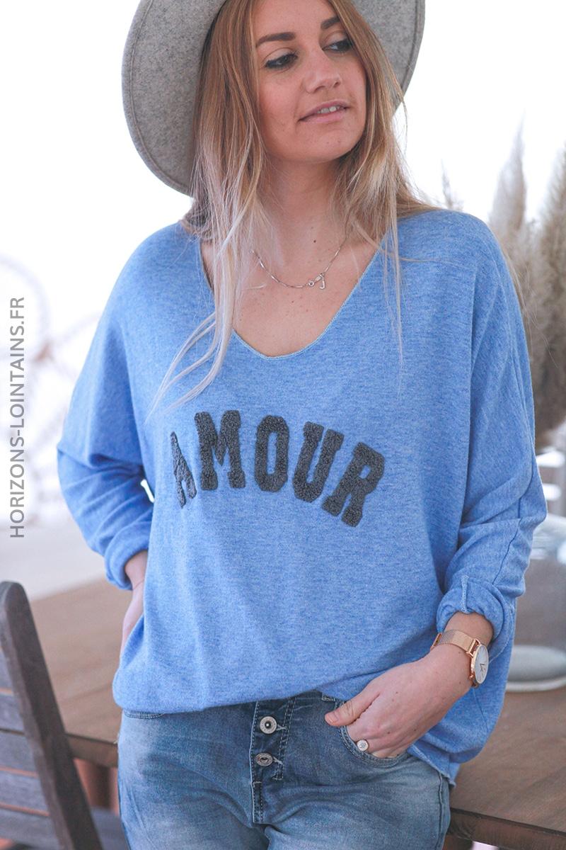 Pull bleu lavande jersey amour relief bouclettes E068 (1)