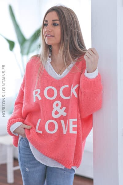 Pull corail oversize grosses mailles rock and roll D224 (1)