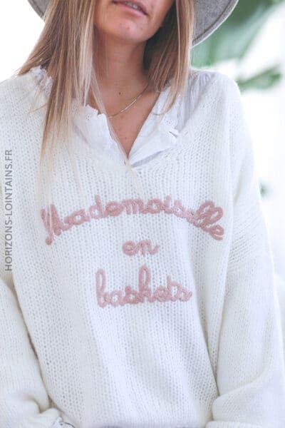 Pull écru grosses mailles mademoiselle en baskets E071 (1)