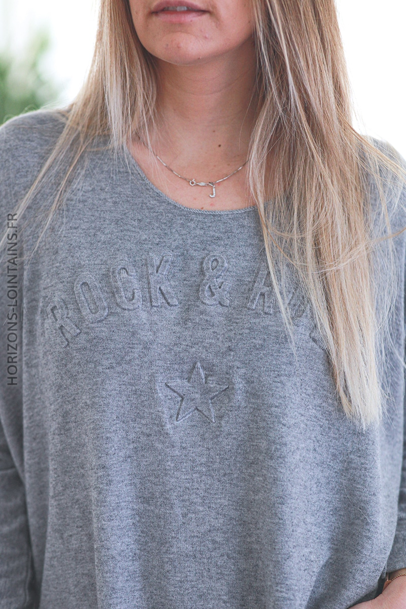 Pull gris chiné clair col v rock and roll relief D182 (1)