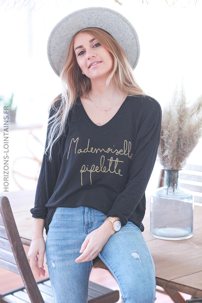 Pull noir madame pipelette E041 (1)