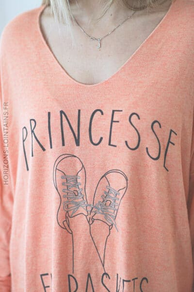 Pull orange princesse en baskets E018 (1)