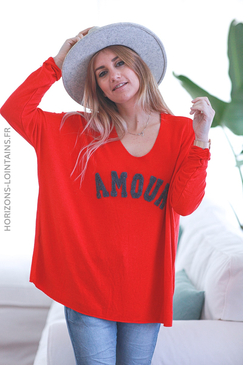 Pull rouge jersey amour relief bouclettes E068 (1)