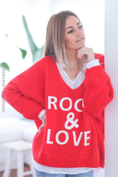 Pull rouge oversize grosses mailles rock and roll D224 (1)