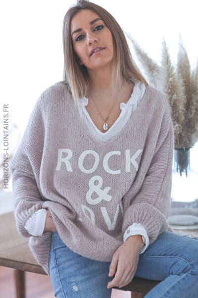 Pull taupe oversize grosses mailles rock and roll D224 (1)