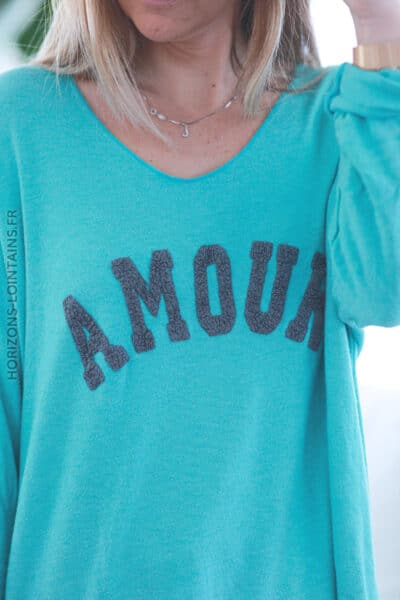 Pull turquoise jersey amour relief bouclettes E068 (1)