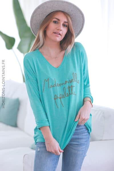 Pull turquoise madame pipelette E041 (1)