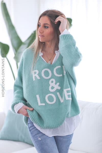 Pull vert céladon oversize grosses mailles rock and roll D224 (2)
