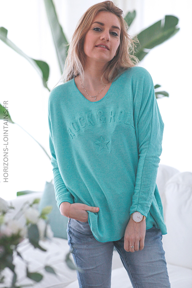 Pull vert turquoise col v rock and roll relief D182 (1)