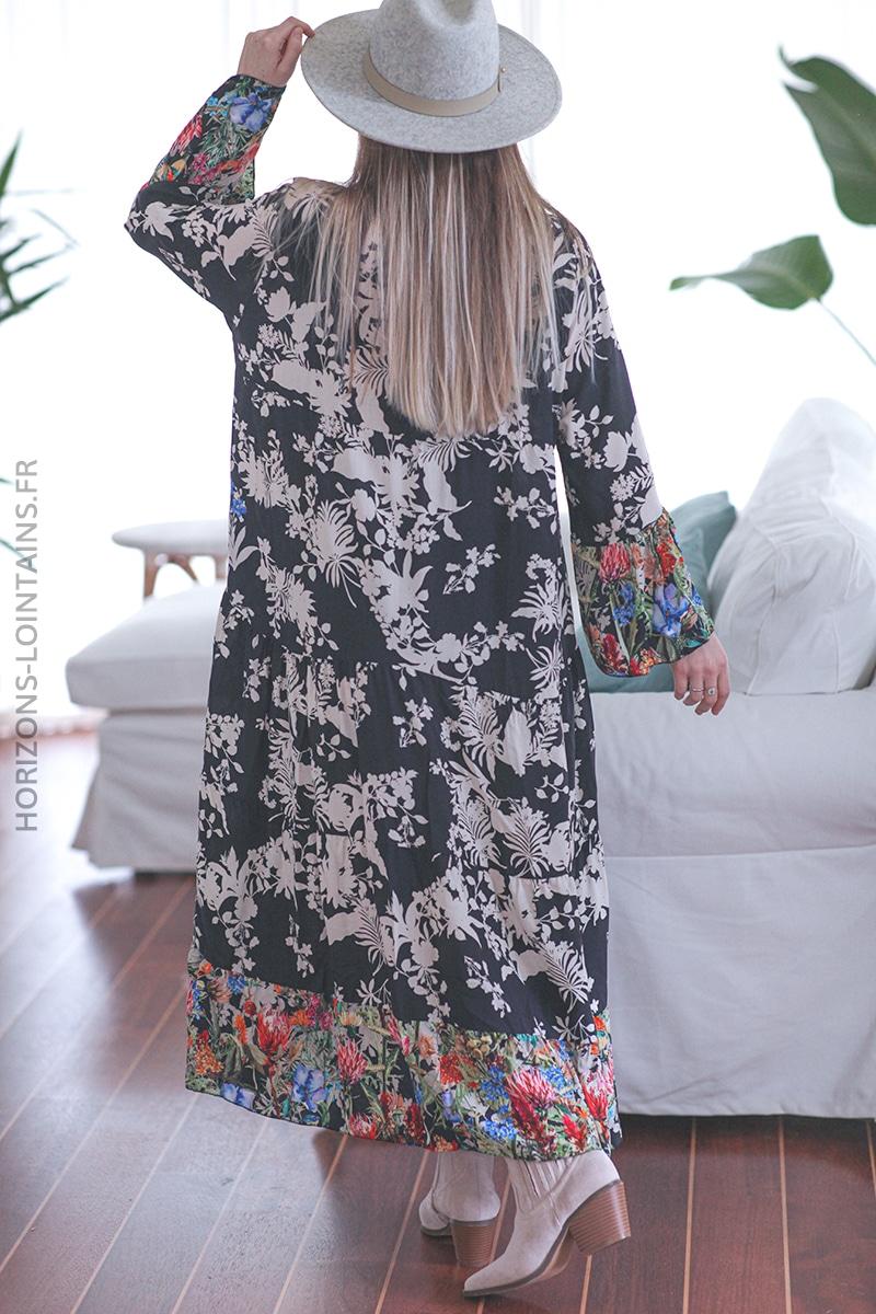 Robe longue noire avec motif fleuri coloré E010 (1)