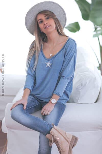 Tshirt bleu jean clair délavé manches chauve souris étoile strass E055 (1)