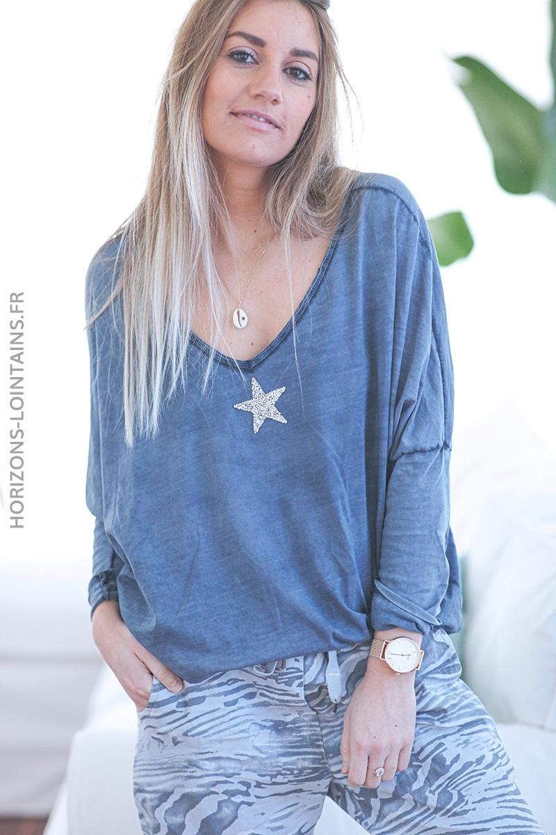 Tshirt bleu marine délavé manches chauve souris étoile strass E055 (1)