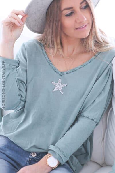 Tshirt vert céladon délavé manches chauve souris étoile strass E055 (1)