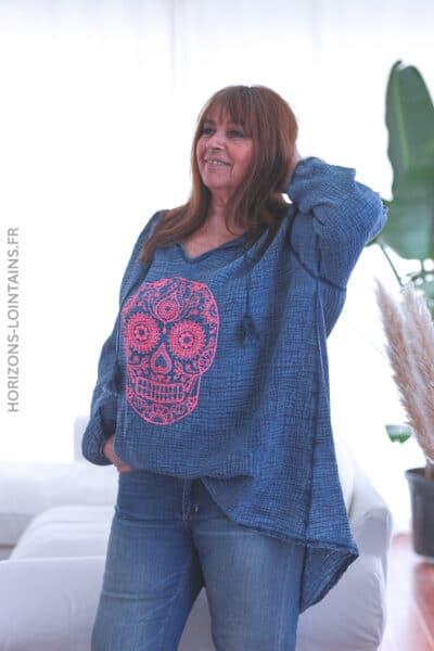 Tunique bleu jean gaze de coton tête de mort mexicaine E037 (1)