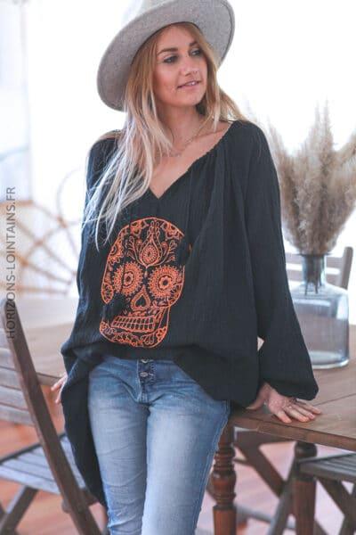 Tunique noire gaze de coton tête de mort mexicaine orange E037 (1)