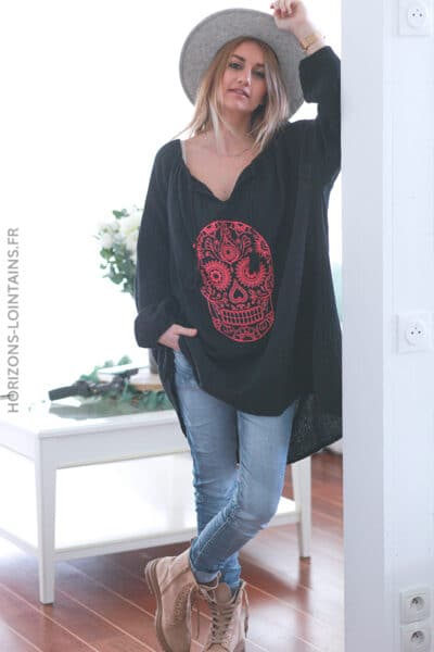 Tunique noire gaze de coton tête de mort mexicaine rose E037 (1)