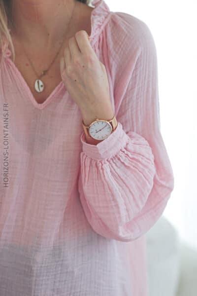 Tunique rose légère en coton E054 (1)