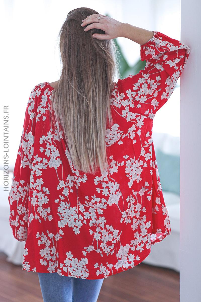 Tunique rouge imprimé fleurs blanches C006 (1)