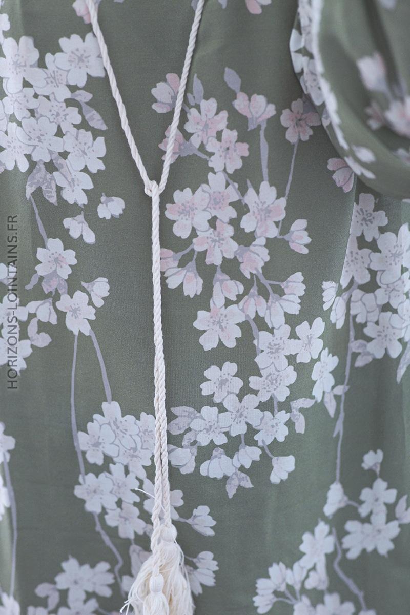 Tunique vert clair imprimé fleurs blanches C006 (1)