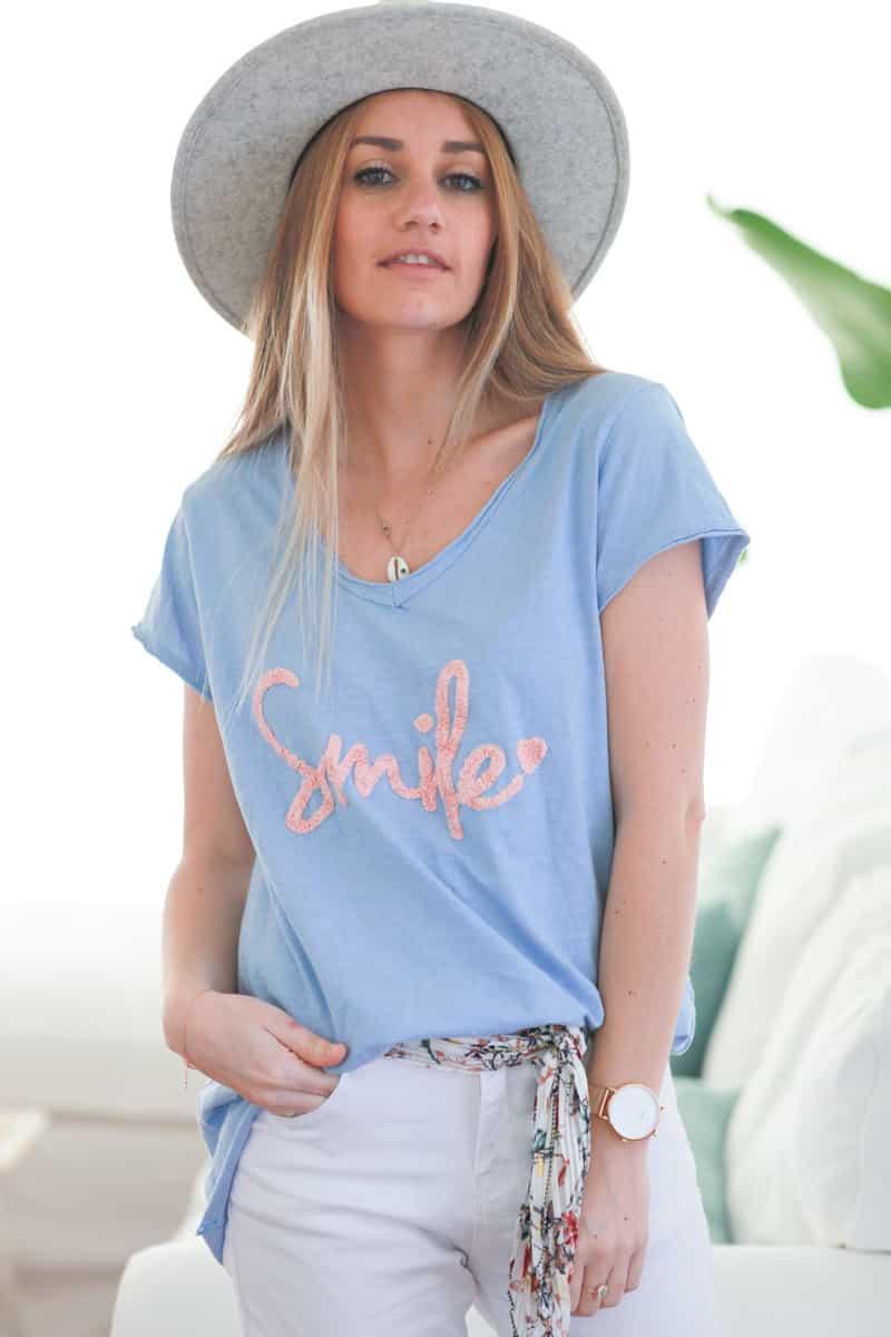 Tshirt bleu ciel en coton manches courtes smile rose pale (1)