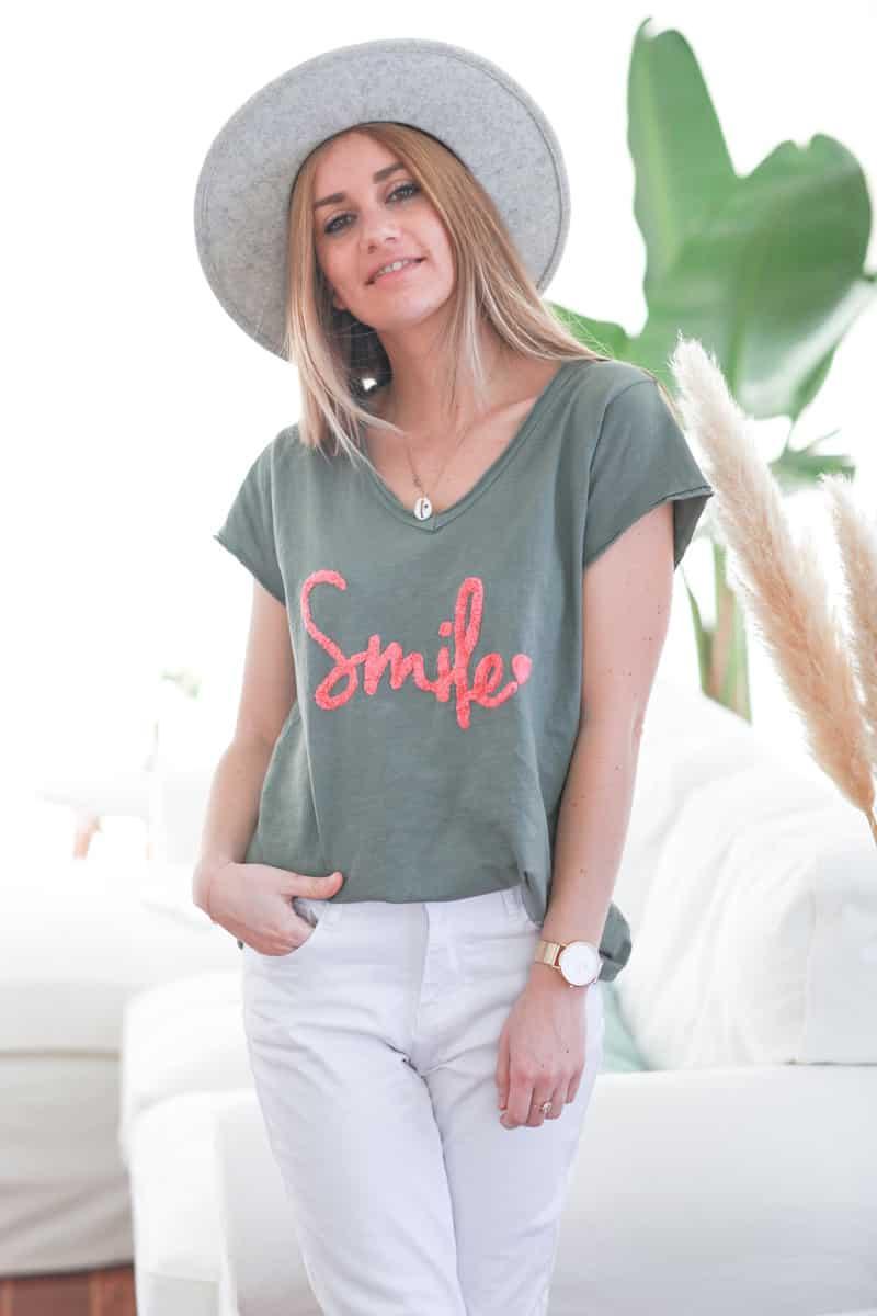 Tshirt kaki en coton manches courtes smile rose d060 (2)